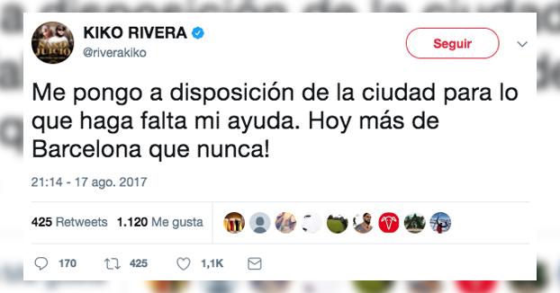 Kiko Rivera publica un tuit en apoyo a Barcelona y en Twitter empieza el cachondeo