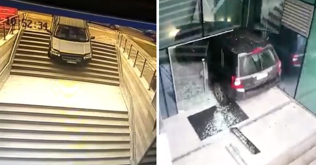 Una conductora confunde la entrada a un edificio con la de un parking subterráneo y la lía parda