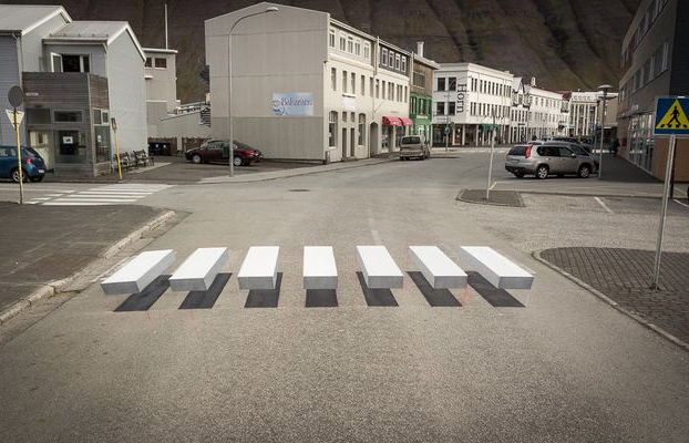 Islandia prueba una ilusión óptica para los pasos de cebra