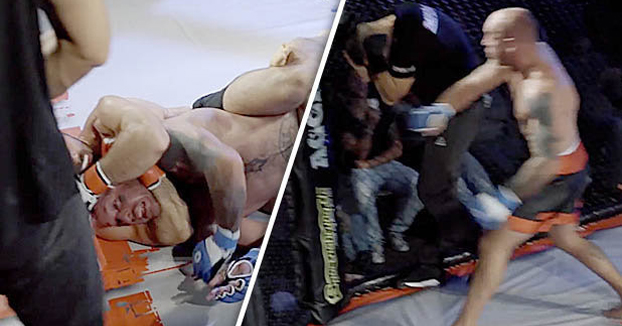 Un luchador de MMA furioso agrede al árbitro por no detener la pelea a tiempo (Vídeo)