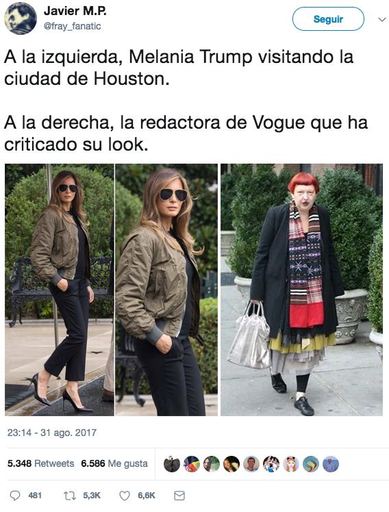 Una redactora de Vogue critica el look de Melania Trump y en Twitter empiezan las comparaciones y el cachondeo
