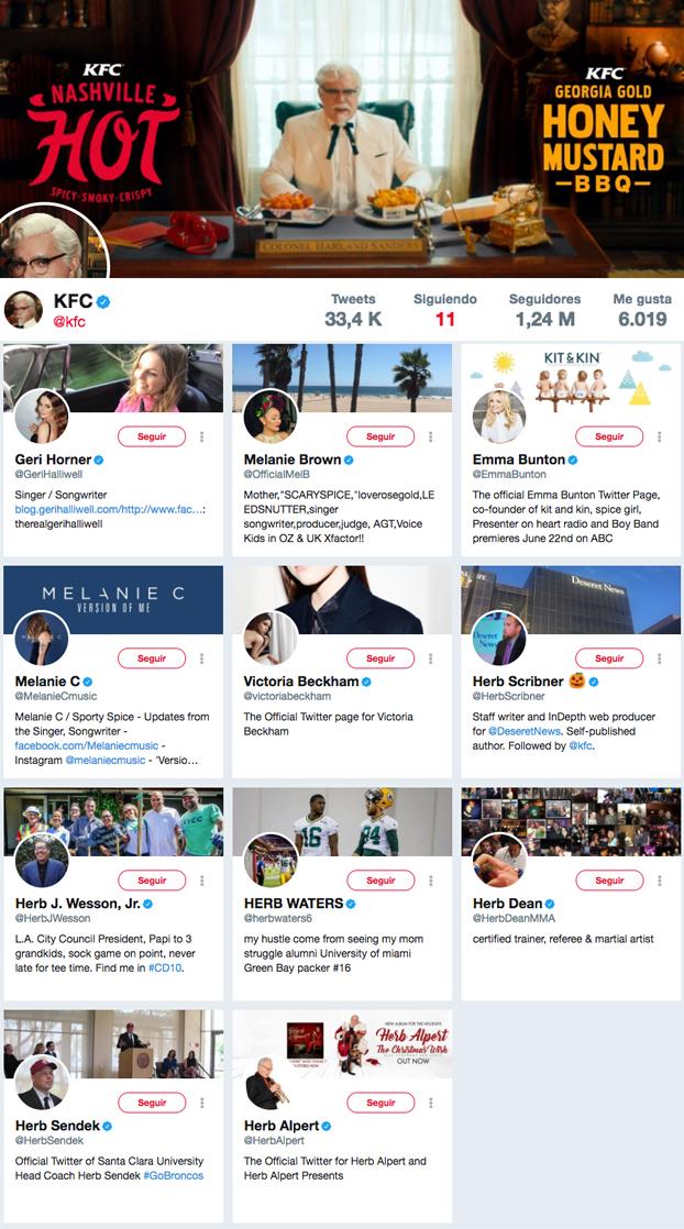 KFC tiene 1,24 millones de seguidores en Twitter y sólo sigue a 11 personas. Un tuitero ha descubierto el motivo
