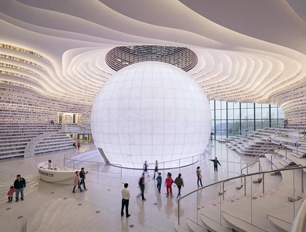 China abre una espectacular biblioteca gigante con 1,2 millones de libros y parece de ciencia ficción