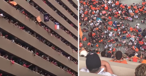 Se le cae la gorra desde un octavo piso y los aficionados de los Houston Astros consiguen devolvérsela