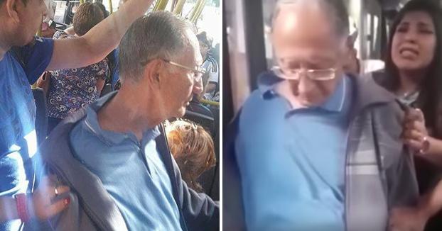 Un hombre eyacula sobre el brazo de una joven en un autobús