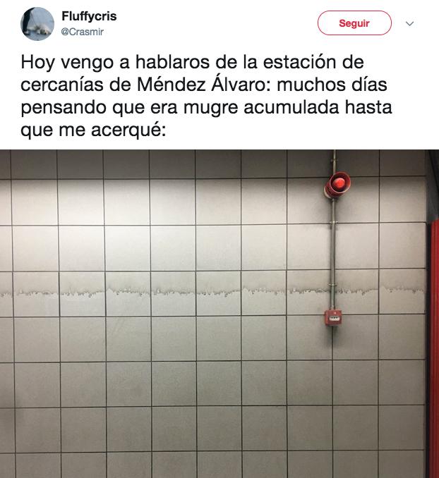Hoy vengo a hablaros de la estación de Méndez Álvaro: muchos días pensando que era mugre acumulada hasta que me acerqué