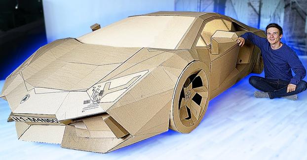 Se construye su propio Lamborghini Aventador de cartón