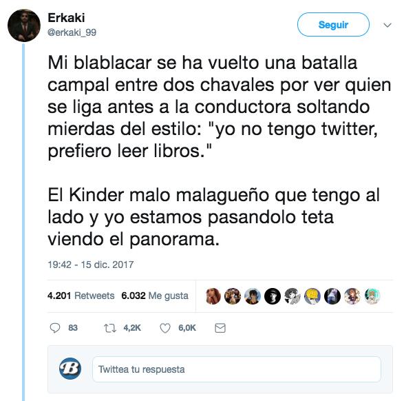 Cuenta en un hilo de Twitter cómo dos chicos intentan ligarse a la conductora de su BlaBlaCar