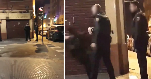 Indignación en las redes: Un policía nacional tumba a una mujer de un bofetón en Valencia