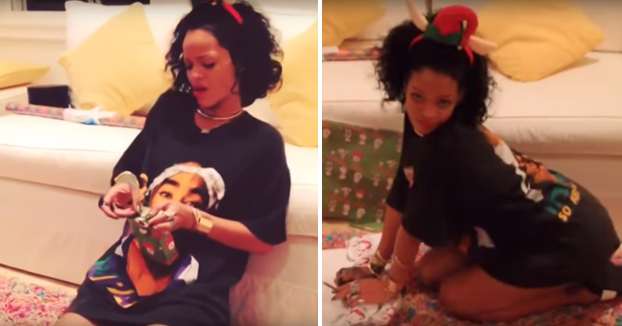 Rihanna saca su lado más sensual mientras envuelve los regalos de Navidad