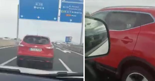 Graban a un conductor frenando 'a lo loco' en la A-30 de Murcia