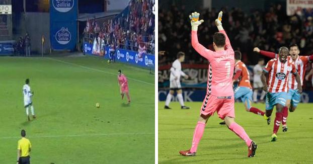 Así fue el gol de Juan Carlos, portero del Lugo, desde 65 metros