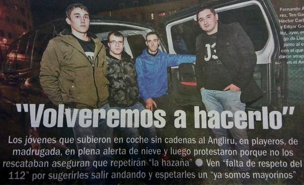 """Los jóvenes atrapados en el Angliru: """"Volveremos a hacerlo"""""""