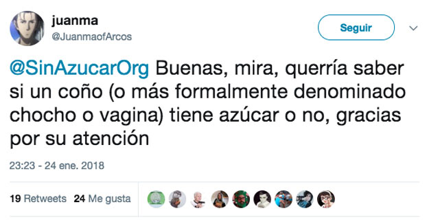 La consulta de Juanma a SinAzucarOrg