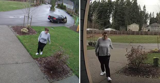 Karma instantáneo: Esta mujer se rompe una pierna al robar unos paquetes de una casa