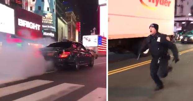 Un conductor de un Mercedes AMG atropella a un policía en Times Square y se da a la fuga