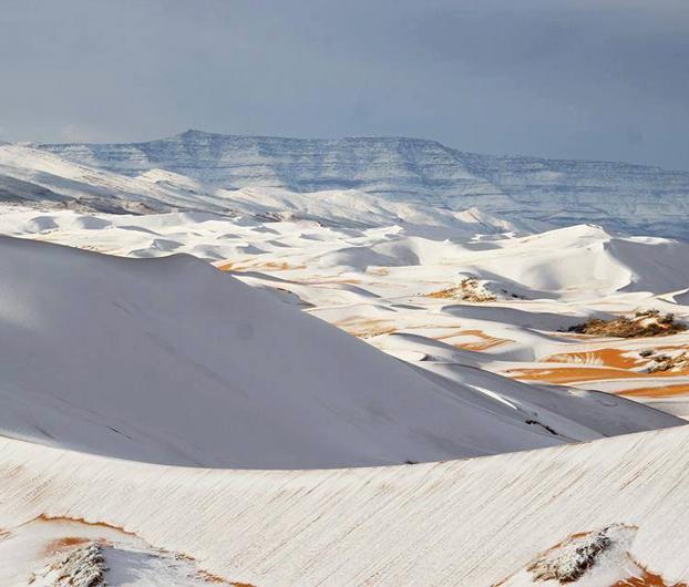 Ha nevado en el desierto del Sahara y las fotos son impresionantes