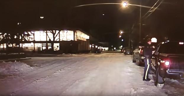 Un policía está hablando con un conductor cuando de repente un puma cruza la carretera
