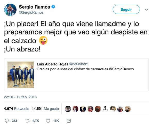 Le dan las gracias a Sergio Ramos por la idea del disfraz para Carnaval y el jugador les responde