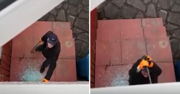 Graba desde su ventana cómo la policía reduce a un ladrón que intentaba entrar en su propia casa