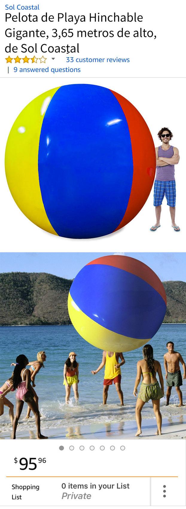 Cachondeo por la reseña de una pelota hinchable gigante que ha dejado en Amazon un cliente descontento