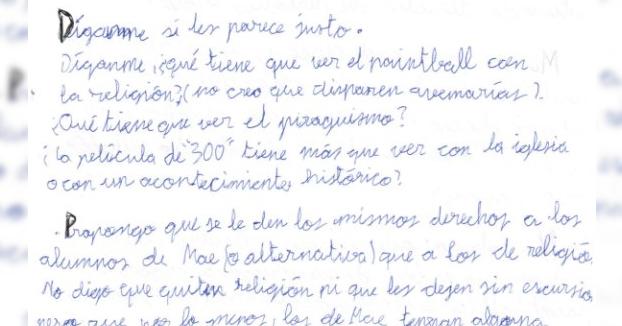 La denuncia de un niño de primero de la ESO: ''La clase de religión es un soborno de la Iglesia''