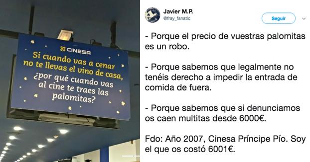 Multas de 6.000 euros si te quitan la hamburguesa: llevar comida al cine es legal
