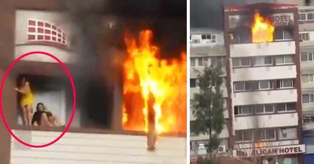 Una mujer cae al vacío desde el quinto piso de un hotel de Izmir al escapar de las llamas