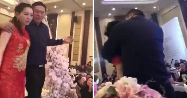 Un suegro borracho besa a la novia durante el banquete y se lía parda