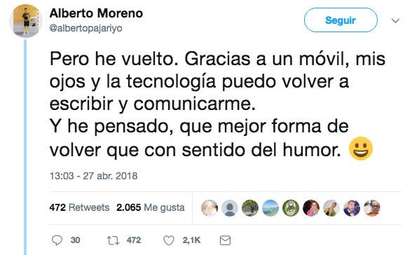 El tuit de Alberto: ''¿Qué le hace sonreír a un parapléjico? Que todo va sobre ruedas''