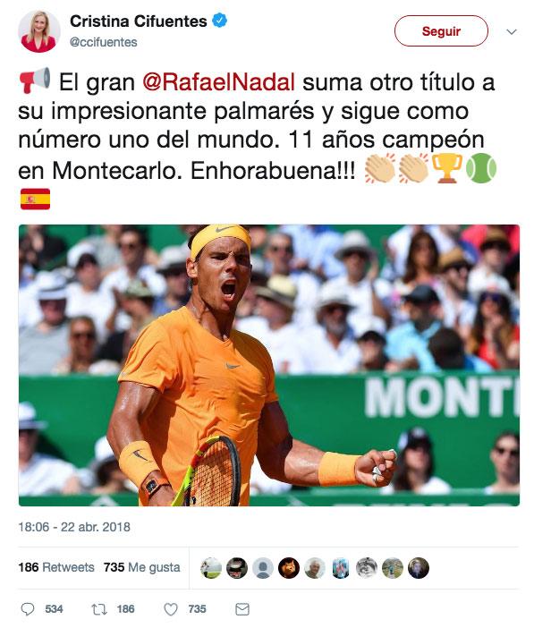 Cifuentes felicita a Rafa Nadal por su Masters 1.000 y Twitter no tarda en responder