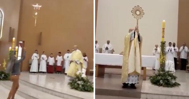 Polémica en una iglesia de Brasil porque utilizaron un dron para llevar la hostia durante la misa