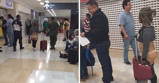 Una mujer se pasea en tanga por un aeropuerto de México 'como Pedro por su casa'