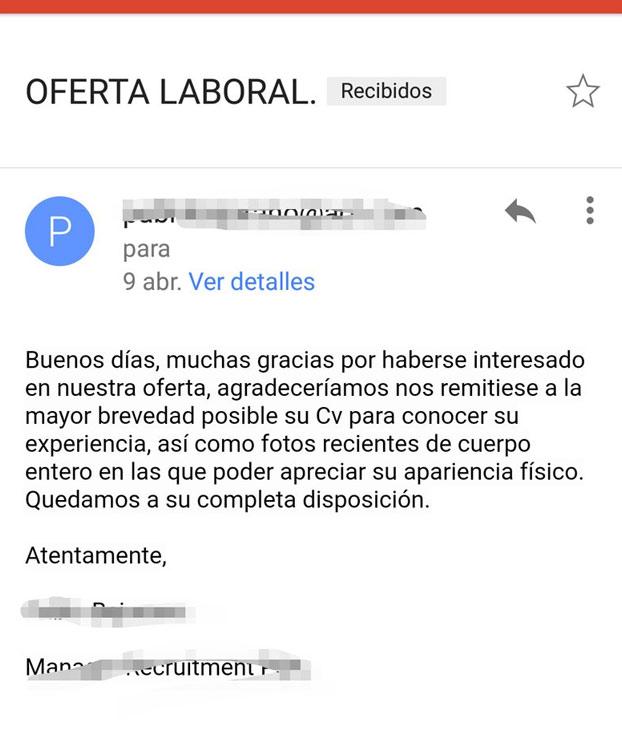 Oferta de trabajo que ''implica relaciones esporádicas con el director de la empresa''
