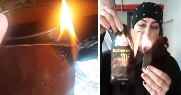 Polémica en Rusia por las tabletas de chocolate que no se derriten al prenderles fuego