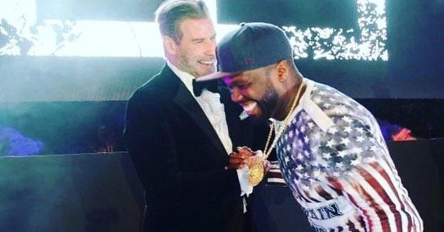 El invitado especial de 50 Cent durante una actuación en el Festival de Cannes