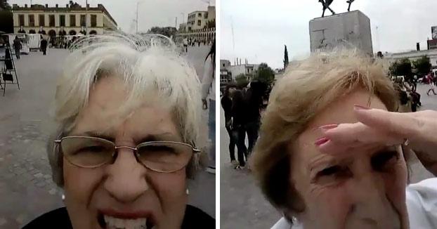 No puedo parar de verlo: La lucha de dos abuelas con el móvil intentando sacar una foto a la basílica