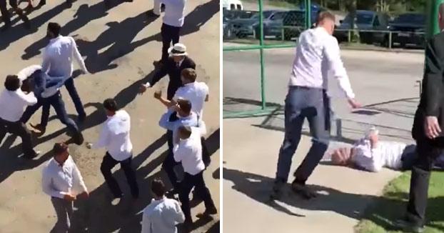 Batalla campal en un hipódromo: patadas en la cabeza y 50 personas involucradas [Vídeo]