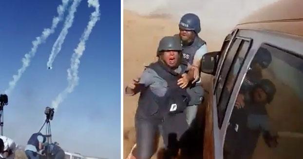 Dron del ejército de Israel lanzando cilindros de gas sobre un grupo de periodistas