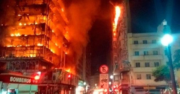 Un edificio de 24 pisos se derrumba en São Paulo debido a un incendio [Vídeos]