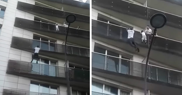 Un inmigrantes escala 4 pisos de un edificio de París para salvar a un niño a punto de caer [Vídeo]