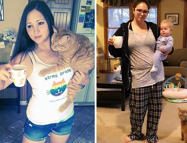 antes y después de tener hijos