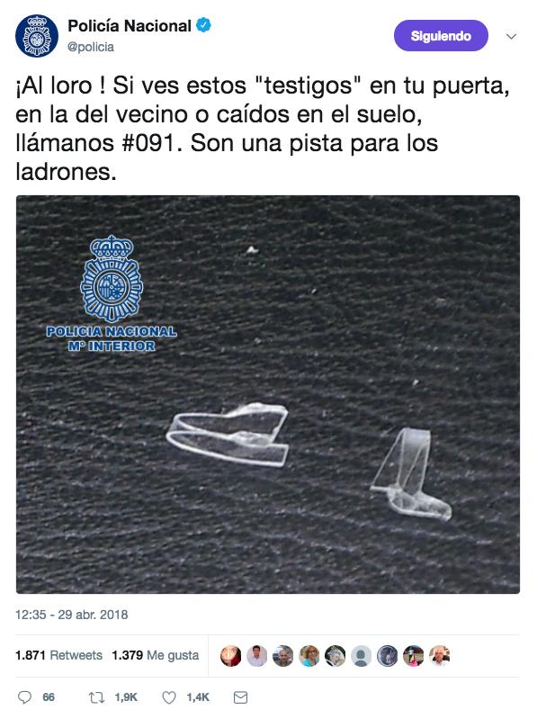 La Policía Nacional avisa: Si ves estos testigos en tu puerta, en la del vecino o caídos en el suelo, llámanos #091