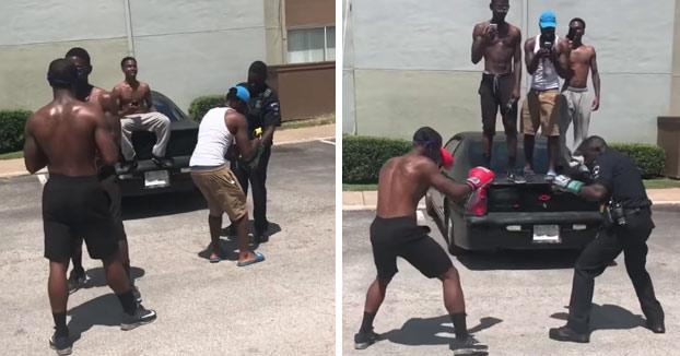 Un policía acepta un combate de boxeo contra uno de los malotes del barrio