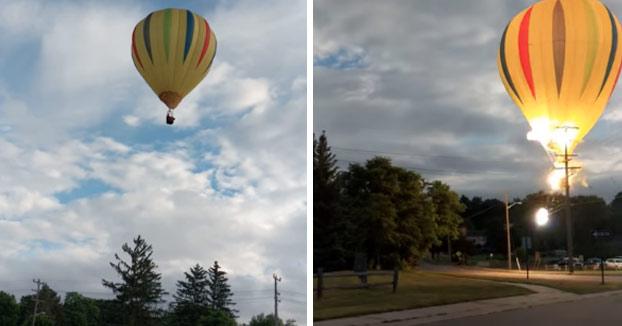 Un globo aerostático cae sobre un tendido eléctrico y después en el lago