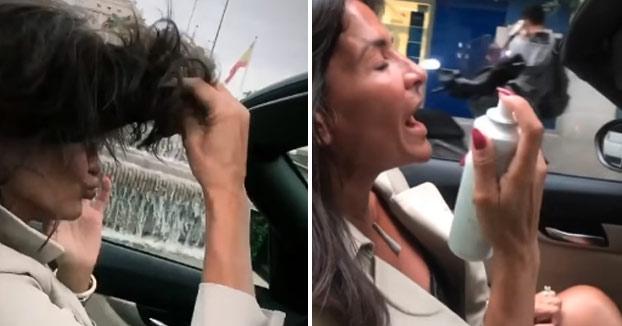 Aída Nizar conduciendo sin las manos al volante por el centro de Madrid mientras 'adora su vida'