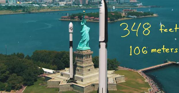 Este vídeo muestra el tamaño de los cohetes SpaceX insertándolos en entornos urbanos