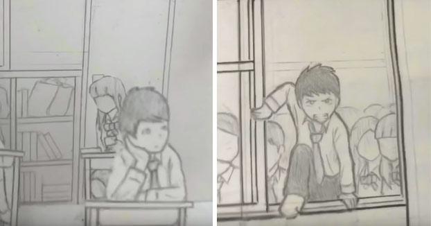 Combate dibujado a lápiz y grabado en una sola toma con un móvil