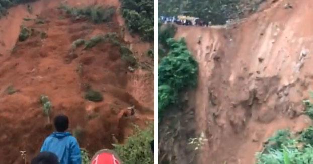 Dos hombres consiguen escapar de la muerte tras un deslizamiento de tierra en Vietnam [Vídeo]