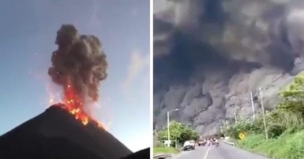 Momento de la erupción del Volcán de Fuego de Guatemala
